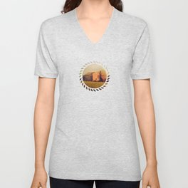A cute small stone house without windows Unisex V-Neck