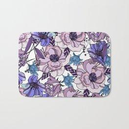 Cute beautiful floral seamless pattern. Ultraviolet roses, violas and meadow flowers. Bath Mat