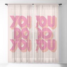 You Do You Block Type Pink Sheer Curtain