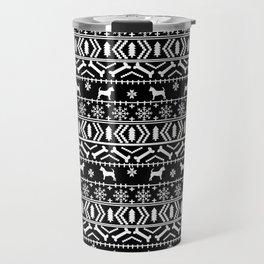 Chihuahua fair isle christmas sweater black and white minimal chihuahuas dog breed Travel Mug