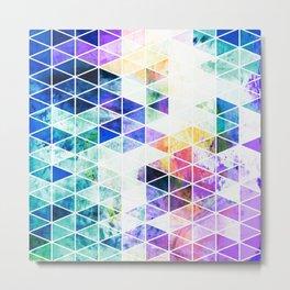 Grungy Bright Triangle Pattern Metal Print