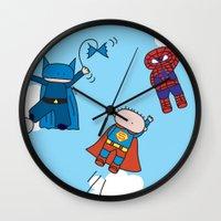superheros Wall Clocks featuring Superheros by oekie