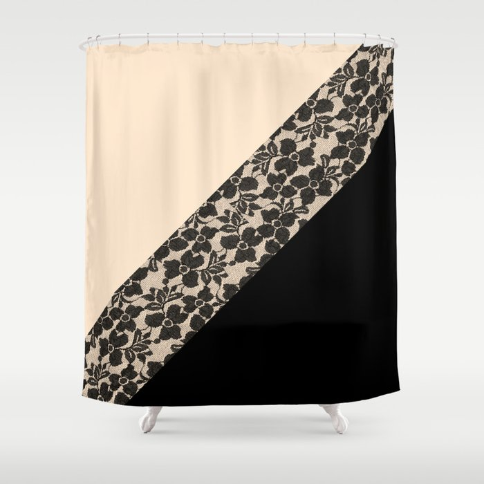 Elegant Peach Ivory Black Floral Lace Color Block Shower Curtain