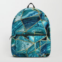 Turquoise Navy Blue Agate Black Gold Geometric Triangles Backpack