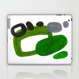 Mid Century Vintage 70's Design Abstract Minimalist Colorful Pop Art Olive Green Dark Green Grey Laptop & iPad Skin
