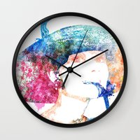audrey hepburn Wall Clocks featuring Audrey Hepburn by Heaven7