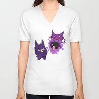 gengar V-neck T-shirts featuring Gastly, Haunter, and Gengar by BritAndBran