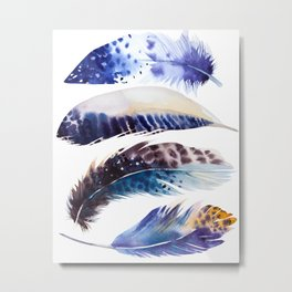 four feathers in blue Metal Print