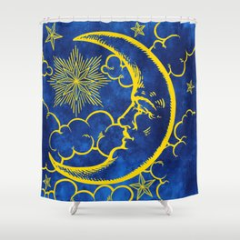 Moon vintage yellow Shower Curtain
