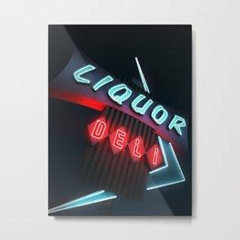 Liquor Deli Vintage Retro Neon Sign Nighttime Metal Print