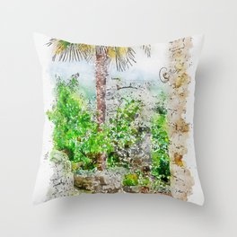 Aquarelle sketch art. Ancient stone buildings and palm tree in Istria, Croatia Throw Pillow