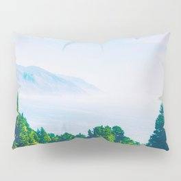 Beautiful ocean view with forest front view at Big Sur, California, USA Pillow Sham