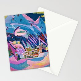 Davos, Swiss Alps in Winter Mountain Landscape by Ernst Ludwig Kirchner Stationery Cards