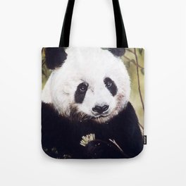 Panda Bear Pastel Painting Tote Bag