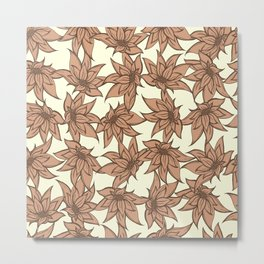 P312020 Floral Cappuccino Metal Print