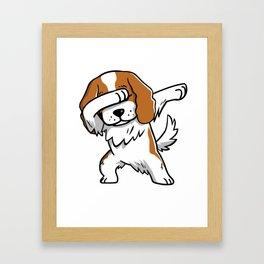 Funny Dabbing Cavalier King Charles Spaniel Dog Dab Dance Framed Art Print