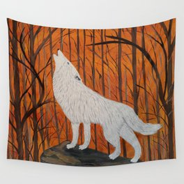 white wolf in the sunset Wall Tapestry