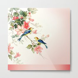 VINTAGE LOVE BIRDS | blush pink white Metal Print
