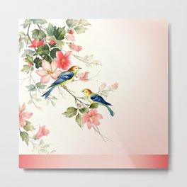 VINTAGE LOVE BIRDS   blush pink white Metal Print