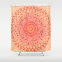 health Shower Curtains featuring Mandala mental health by Christine baessler