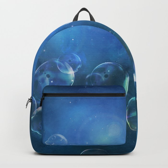 floating bubbles blue watercolor space background Backpack
