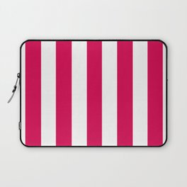 UA red fuchsia - solid color - white vertical lines pattern Laptop Sleeve