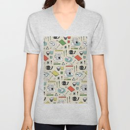 Coffee, journals and peace of mind. Unisex V-Neck
