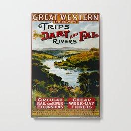 Dart and Fal Rivers Vintage Travel Poster Metal Print
