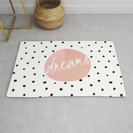 Dreams - Polkadots and Typography on pink background Rug