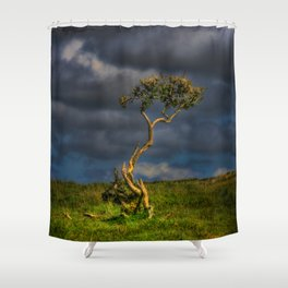 Survive I Will - Lone Gorse on Windswept Moors Shower Curtain