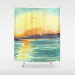 Cresent Bay Sunset Shower Curtain
