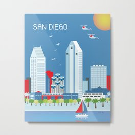 San Diego, California - Skyline Illustration by Loose Petals Metal Print