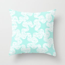 turquoise starfish pattern Throw Pillow