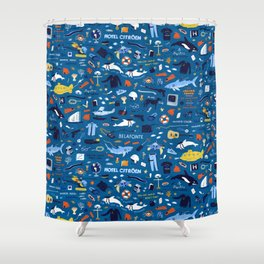 Life Aquatic Plot Pattern Shower Curtain