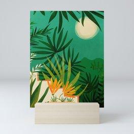 Exotic Garden Nightscape / Tropical Scene Mini Art Print