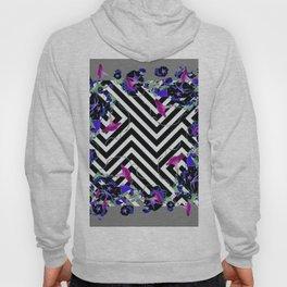 Geometric  black-White Morning Glories Grey Pattern Garden  Art Hoody