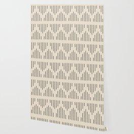 Modern Mudcloth 3, Black on Cream Wallpaper