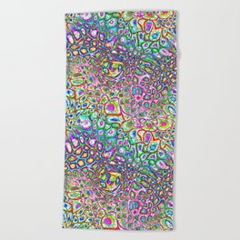 Colorful Synaptic Channels Beach Towel