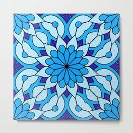 Blue Mandala Flower Metal Print
