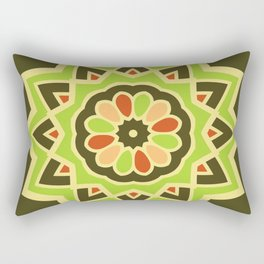 Groovy Green Mandala Spinning Round Rectangular Pillow