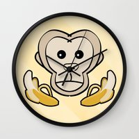 monkey island Wall Clocks featuring Monkey by Nir P