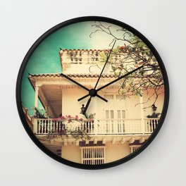 Colourful Summer Old House (Retro and Vintage Urban, architecture photography) Wall Clock