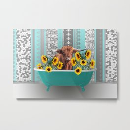 bathtub with Highland cow and sunflowers Metal Print