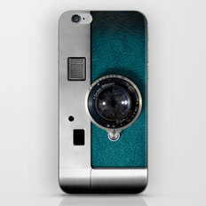 Classic retro Blue Teal Leather silver Germany vintage camera iPhone 4 4s 5 5c, ipod, ipad case iPhone Skin
