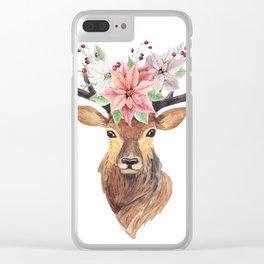 Winter Deer 3 Clear iPhone Case