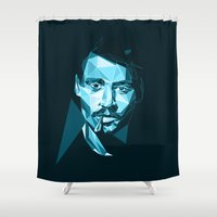 johnny depp Shower Curtains featuring Heeeere is Johnny. by Design by Frida