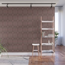Peach, gray and chocolate lace Wall Mural