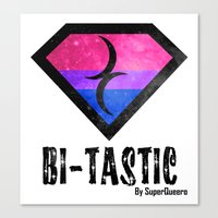 bisexual Canvas Prints featuring Bi-Tastic Bisexual medalion  by SuperQueero