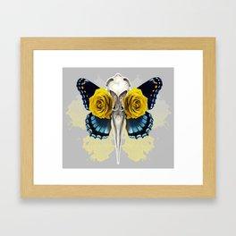 Bird skull and yellow roses Framed Art Print