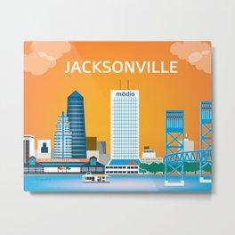 Jacksonville, Florida - Skyline Illustration by Loose Petals Metal Print
